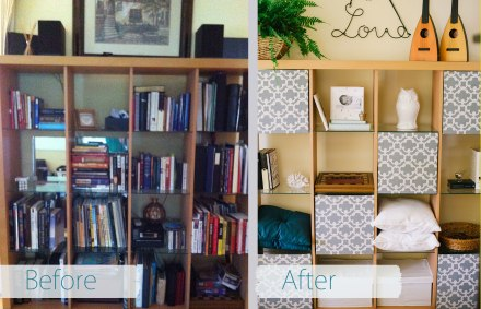 before_and_after_bookshelf_be_kind_and_smile_often